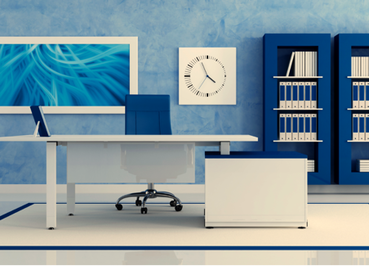 Blue Home Office Design